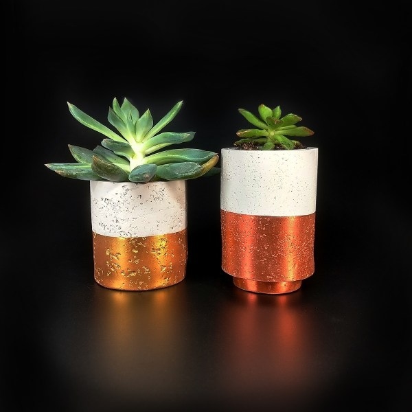 Succulent pots made with the new mica powder colors from Pearl Ex.