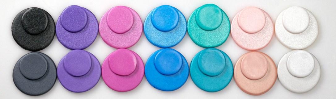 Cernit Pearl samples compared to cernit metallic