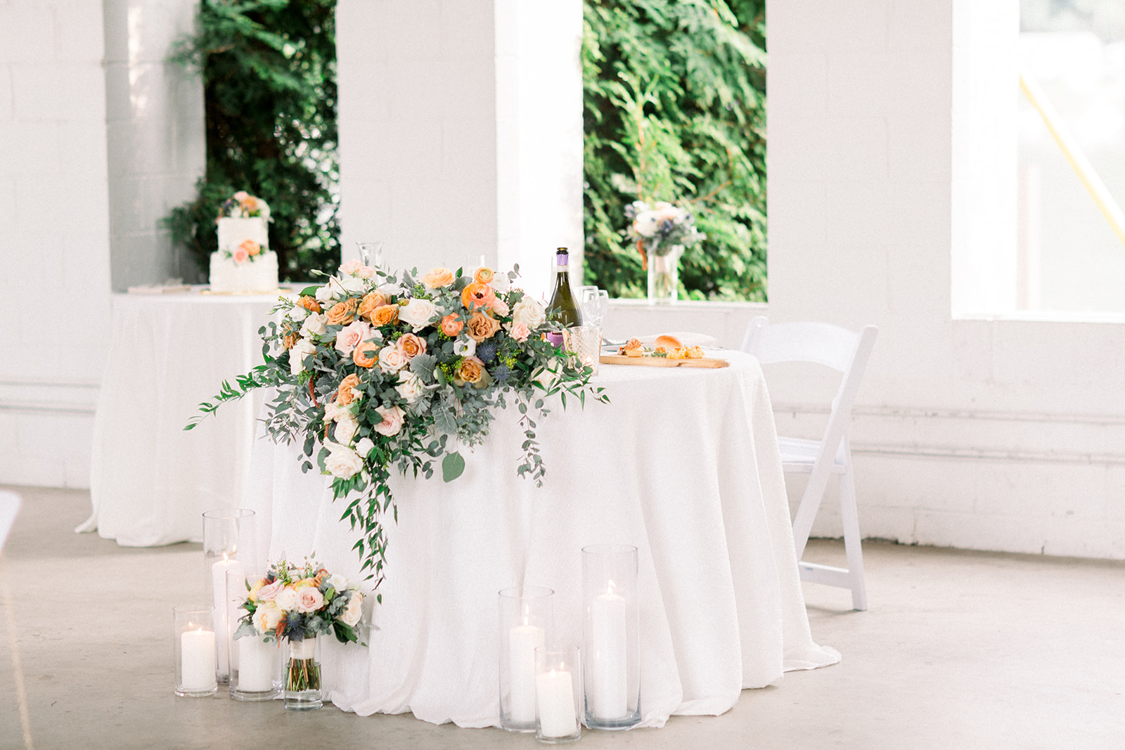 soft and sweet fall wedding sweetheart table statement piece