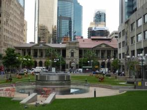 Anzac Square, with City Hall far away