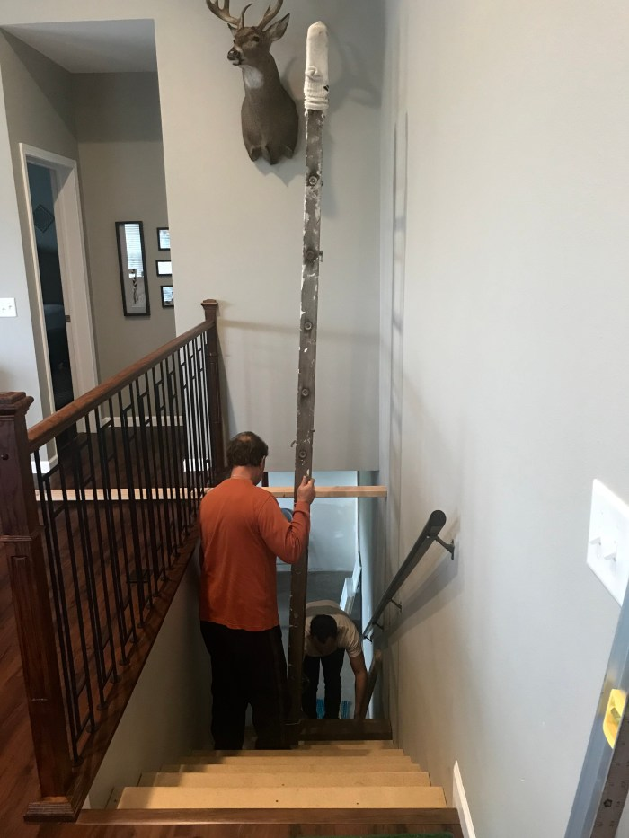 Hanging the stair wall art