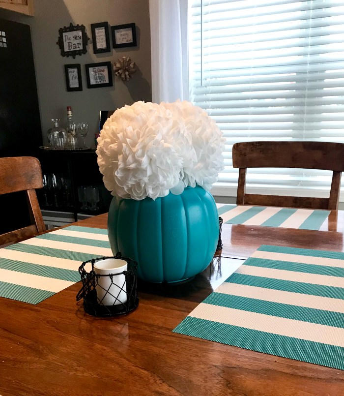 Just a plain every-day teal pumpkin from the back!