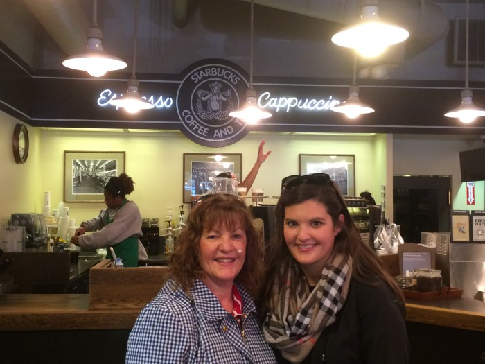 Age 27 at the original Starbucks in Seattle with my mom!