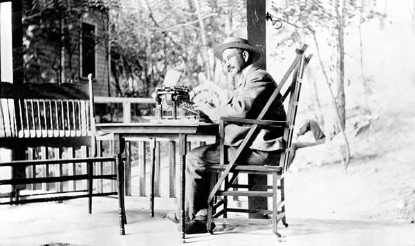 L. Frank Baum at his typewriter in 1899
