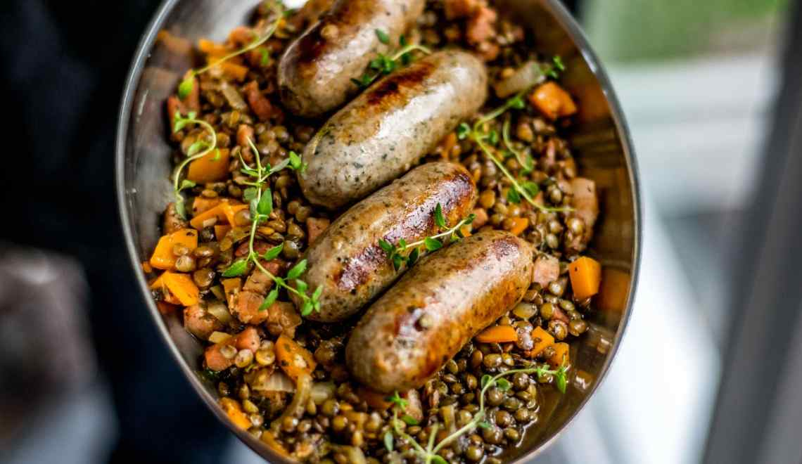 Apple cider sausage and lentils