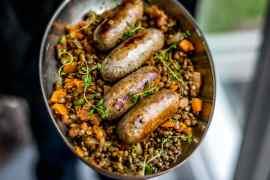 apple cider sausages and lentils