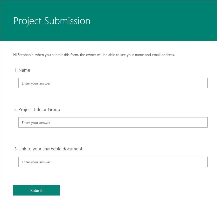 Office 365 form sample