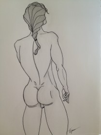 "Glutes. 2013. Bobby-james ""Faceless Man"" Series. Marker"
