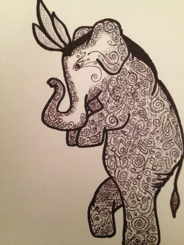"The Tip-Toe Elephant. 2012. Bobby-james. ""Elephants Series"" Pen/Marker"