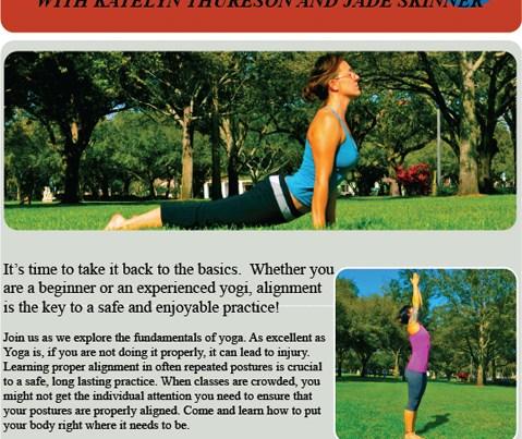 Flyer for Katelyn's and Jade's Foundations workshop at YogaBlu