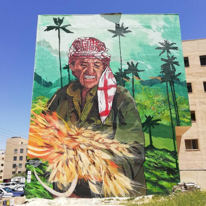 This six storey high mural in Jordan, painted by Ecks and his crew Vertigo, features wheat in the coffee zone.