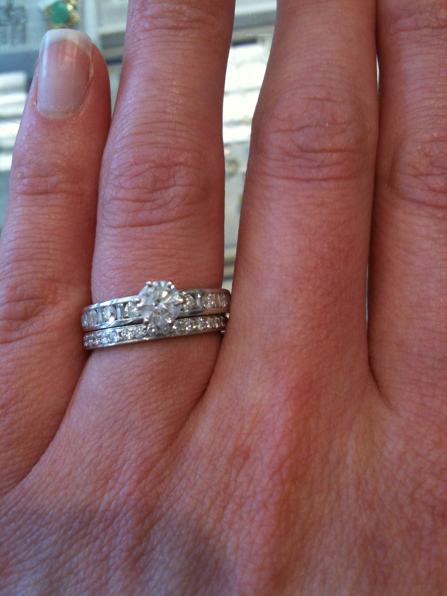 images of how to wear wedding band and engagement ring velucy ring