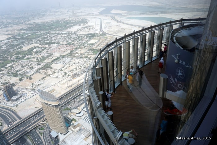 Looking at the terrace from Level 125 at the top burj khalifa