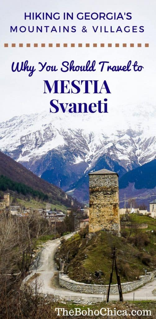 Why you should travel to Mestia, Svaneti Georgia: To hike in the region's beautiful mountainous landscapes, explore villages and see Svan Towers in this UNESCO World Heritage Site.