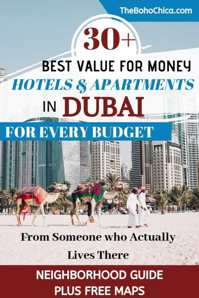 Where to Stay in Dubai: Whether it's hotel apartments, budget hotels or luxury hotels in Dubai near the beach, Burj Khalifa, Dubai Marina, or Palm Jumeirah, use this guide to Dubai accommodation to know where to stay in Dubai. Full breakdown of neighborhoods plus hotel recommendations. Maps included. #dubaitravel #Dubai #Dubaihotels #DubaiAccommodation #WhereToStayinDubai