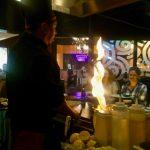 Flaming volcano at the yep-an table
