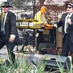 Jake and Elwood singing and dancing at the Idaho Botanical Gardens