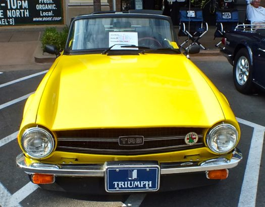Nice yeellow Triumph at meet in Meridian
