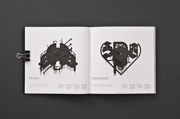 black and white portfolio book design inspiration