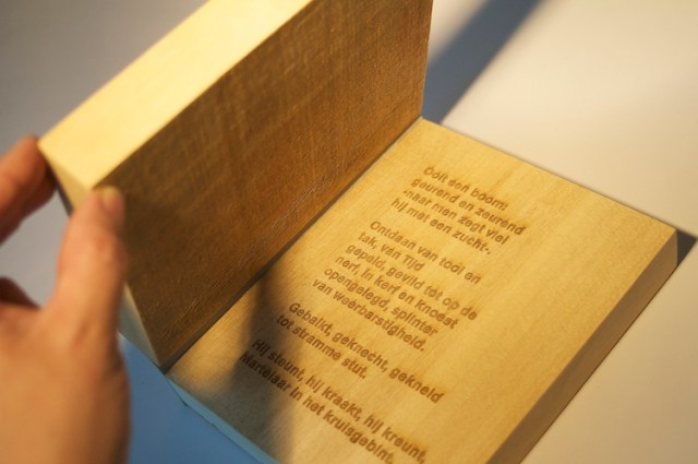 Graphic design inspiration – an experimental book, created from engraved wood and leather
