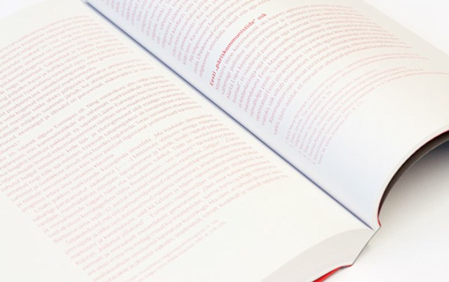 Book interior page – red text on white page