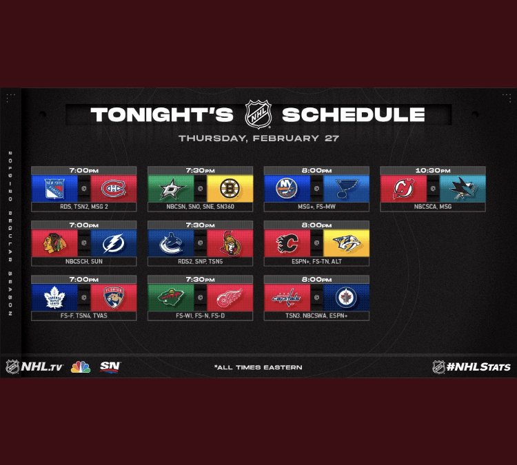 NHL Tune-In Thursday