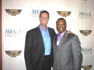 Dexter Montgomery with James Malincheck, host of ABC television network, Secret Millionaire.
