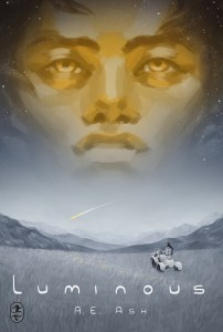 book cover featuring a man's face with a field below with a woman and space vehicle