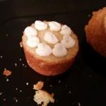 Sponge bottom half with whipped cream