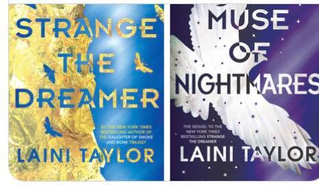 Image may contain: text that says 'STRANGE MUSE THE OF NIGHTI ARE DREAMER LAINI TAYLOR LAINI TAYLOR'