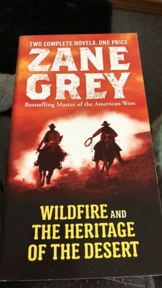 Image may contain: one or more people, text that says 'TWO COMPLETE NOVELS ONE PRICE ZANE GREY Bestselling Master of the American West WILDFIRE AND THE HERITAGE OF THE DESERT'