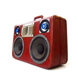boomcase boombox vintage red