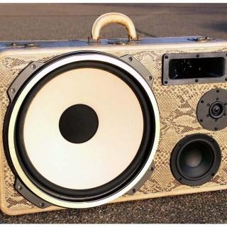 boomcase vintage snake eyes bass suitcase boombox