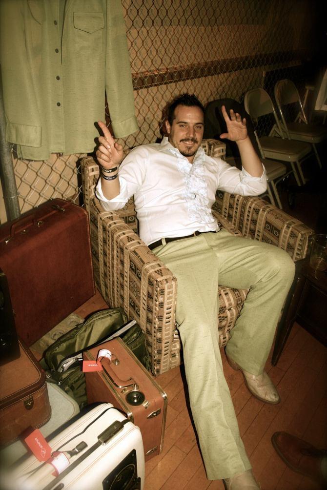 JP Odbert John Disco PArty BoomBox BoomCase Vintage Suitcase Green Pants