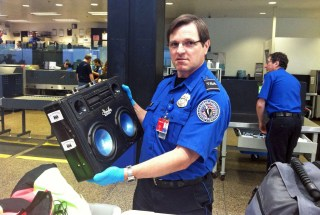 TSA BoomCase BoomBox Approved Security Blue shirt Briefcase Airplane Airline Flight Fly Carryon Carry on luggage