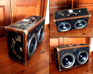Vintage Black Trunk Chest West Elm Modern Furniture Design Classic Bay Area Emeryville Holiday BoomCase Pop Up Shop Popup Store Valencia Mission San Francisco SF Dijital Fix Cool Store Amazing BoomBox Custom