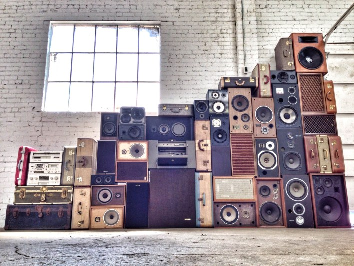 Stacks of Speakers Vintage BoomCase Sound Wall WallOfBoom Tower Of Boom Holiday BoomCase Pop Up Shop Popup Store Valencia Mission San Francisco SF Dijital Fix Cool Store Amazing BoomBox Custom Dijital Fix San Francisco California SF The Mission Electronics Goodies Sacramento
