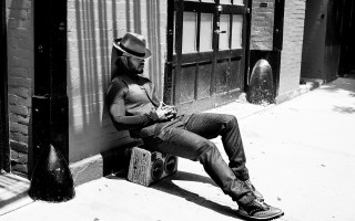 Luke James BoomCase Photo Shoot New Orleans NOLA Chilling Old School Black and White Sexy Fresh Hanging BoomBox GQ Style