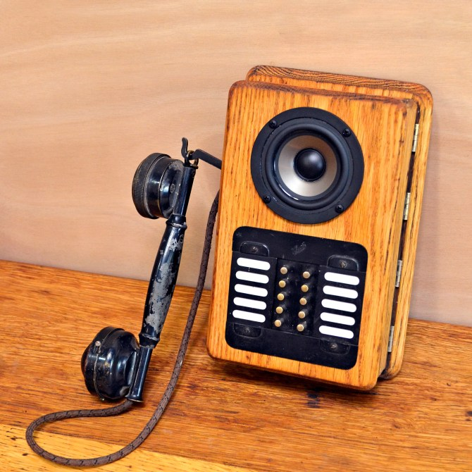 antique phone vintage wooden wood box boomcase boombox oak speaker robot