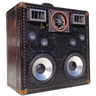 Custom Steamer Trunk BoomBox BoomCase Speaker Best Bluetooth System Woofers Black