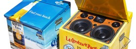 Corona Pacifico BoomCase BoomBox Ice Chest Cooler Cerveza Mexico Beer Red Blue Vintage Suitcase