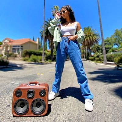 Ashley Mehta music boomcase vintage suitcase boombox
