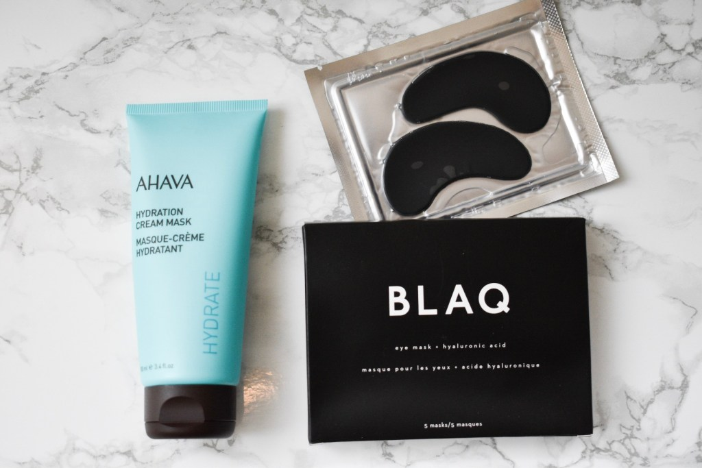 AHAVA hydration cream mask and blaq eye masks