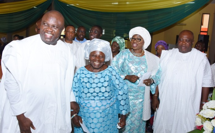 Lagos State Governor, Mr. Akinwunmi Ambode, with his Mother, Adewunmi; his Wife, Bolanle and his brother, Mr. Akinpelu Ambode during a Thanksgiving Service in Commemoration of Governor Akinwunmi Ambode's First Year in Office at the Chapel of Christ The Light, Alausa, Ikeja, Lagos, on Sunday, May 29, 2016.