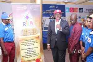 Rtn Jide Akeredolu, flanked by Mr. Abiodun Oshinibosi and Mr. Sola