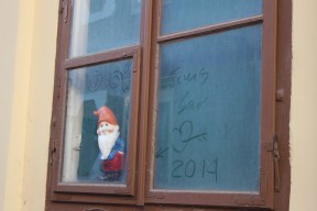 Gnome in the window as we passed the Croatian History Museum.