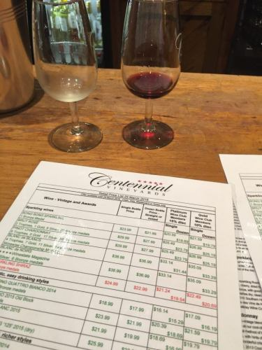 wine glasses with a price list at centennial wineyards new south wales