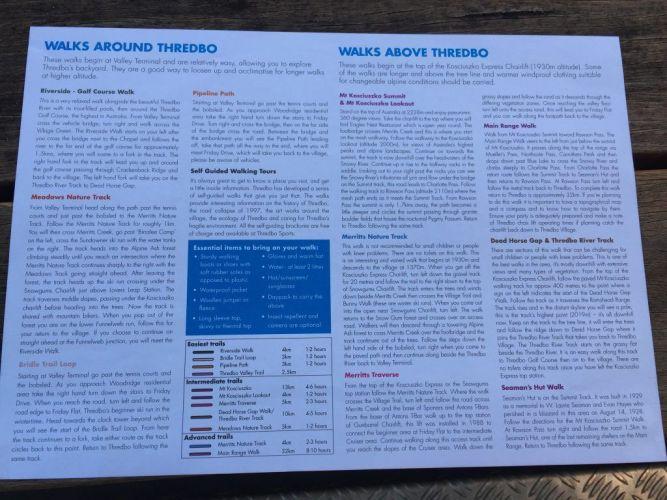 brochure with information on walks around thredbo