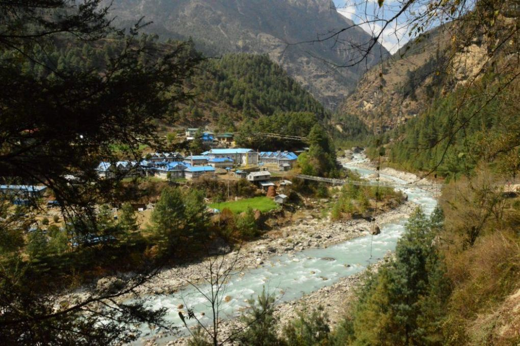 river and town of Phakding Nepal