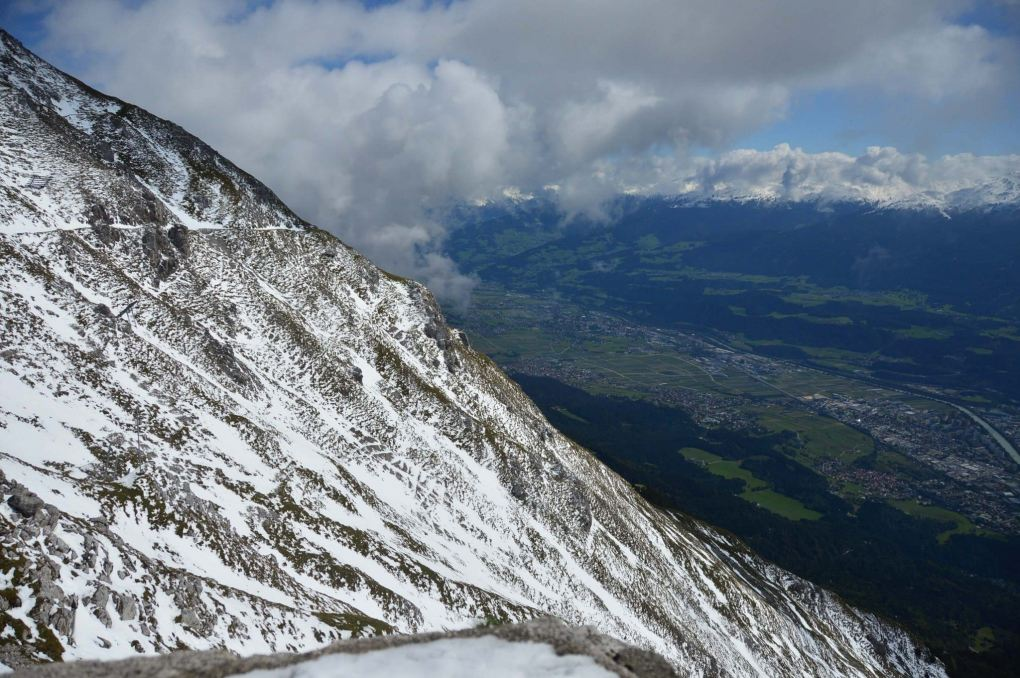 view over snowy mountain of innsbruck